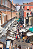 Street in Venice. VENICE, ITALY - APRIL 08: Street seen from the Rialto Bridge in the morning on April 08, 2009 in Venice, Italy Stock Image