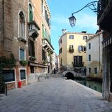 Street in Venice. With the channel Royalty Free Stock Photos
