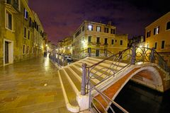 A street in venice in the night Royalty Free Stock Photos