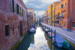 Street in Venice with small channel Royalty Free Stock Photos