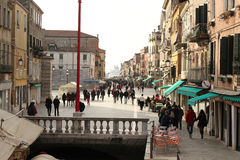 Street of Venice in winter during the carnival royalty free stock photography