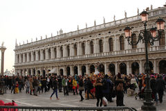 Street of Venice in winter during the carnival stock photos
