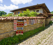 Street vernissage in the Bulgarian village of Zheravna. Mountain eco-village Zheravna - Bulgarian national carpet center, rural tourism, national rural royalty free stock images