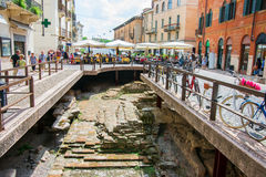 Street in Verona with archaeological site Stock Image