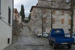 A street in Verucchio, Italy royalty free stock image