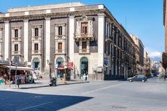 Street via Etnea and Etna volcano in Catania Stock Image