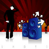 Street Vibes. Modern design illustration with speakers blowing out tunes stock illustration