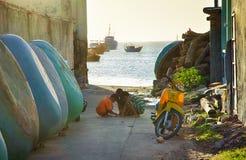 Street Vietnamese fishing village. Sea view stock image