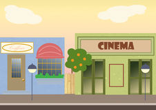 Street view. Digital illustration representing an urban street with shop and cinema Stock Photography
