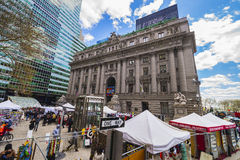 Street view on Alexander Hamilton US Custom House Lower Manhattan royalty free stock photos