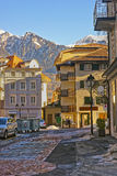 Street view of the Alps in the City of Bad Ragaz Stock Photography