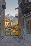 Street view and Alps in the City of Bad Ragaz Royalty Free Stock Images