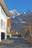 Street view on the Alps in the Town of Bad Ragaz Royalty Free Stock Photo