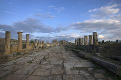 The street view of the ancient city Hierapolis, Pamukkale / Turkey stock photography
