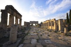 The street view of the ancient city Hierapolis, Pamukkale / Turkey royalty free stock image