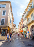 Street view in Antibes old town, France Stock Images