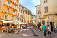 Street view in Antibes old town, France Royalty Free Stock Photos