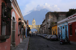 Street view of Antigua Guatemala on May 2015. The historic city Antigua is UNESCO World Heritage Site. ANTIGUA , GUATEMALA -Street view of Antigua Guatemala on Stock Photography