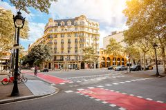 Barcelona city view. Street view with beautiful buildings in Barcelona city royalty free stock images