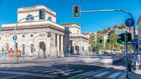 A street view of beautiful historic landmark - Porta Venezia timelapse. Crossroad on Avenue Buenos Aires and street Bastioni di Porta Venezia. Milan, Italy stock video footage