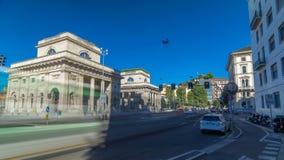 A street view of beautiful historic landmark - Porta Venezia timelapse hyperlapse. Crossroad on Avenue Buenos Aires and street Bastioni di Porta Venezia. Milan stock video footage