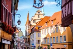 Colmar town in France. Street view on the beautiful old buildings in the famous tourist town Colmar in Alsace region, France Stock Photography
