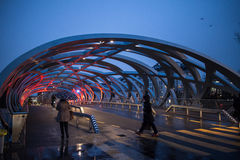 Street view of Bird`s Nest bridge in Geneva Stock Photos