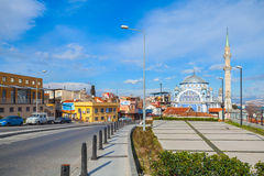 Street view of Birlesmis Milietler Cd. with Fatih Camii, Izmir Royalty Free Stock Image