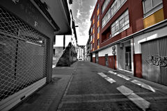 Street view. Black and white picture in Valladolid spain stock photography