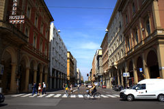 Street view Bologna Italy. Street view of Bologna city center,Via dei Mille, Italy Stock Photo