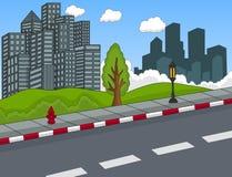 Street view with building cartoon Stock Photos