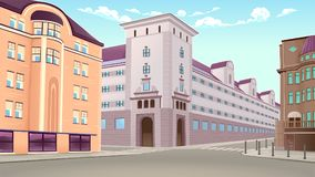 Street view with buildings in perspective. Vector architectural illustration Royalty Free Stock Photos