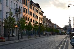 Street view, buildings in Poland - sunset time royalty free stock photo