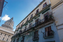 Street view with capitolio from La Havana Royalty Free Stock Photo
