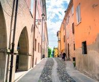 Street view in Castelvetro di Modena, Italy stock photos