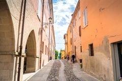 Street view in Castelvetro di Modena, Italy royalty free stock photo