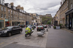 Street view of Castle Street, New Town, Edinburgh, Scotland Royalty Free Stock Photos