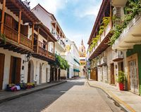 Street view and Cathedral - Cartagena, Colombia royalty free stock images