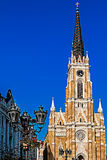 Street view of the cathedral Santa Maria in Novi Sad 1. NOVI SAD, SERBIA - OCTOBER 11, 2014: The Name of Mary Church is a Roman Catholic church dedicated to the Stock Images