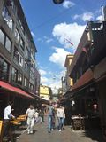 Street view of central shopping street of Kadikoy district.Kadıkoy is a large populous and cosmopol. ISTANBUL, TURKEY - SEP 3, 2016:Street view of central Stock Photography