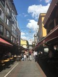 Street view of central shopping street of Kadikoy district.Kadıkoy is a large populous and cosmopol. ISTANBUL, TURKEY - SEP 3, 2016:Street view of central Stock Photos