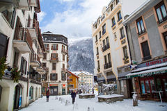Street view in Chamonix town, French Alps, France Royalty Free Stock Images