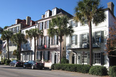 Street View of Charleston, South Carolina. Homes along Battery Row in historic Charleston, South Carolina (SC stock photo