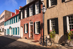 Street View Charleston South Carolina. Row of buildings along street in downtown Charleston, South Carolina Stock Photography