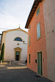 Street view on the church. Street  view on the church in small Italian town Royalty Free Stock Image