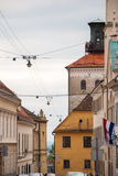 Street view at Cirilometodska street and Lotrscak Tower in Zagre Royalty Free Stock Images