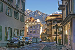 Street view in the City of Bad Ragaz Stock Photography
