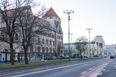 Street view in city center of Poznan, Poland. Poznan, Poland - December 05, 2018: Street view in city center of Poznan, Poland stock photo