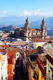 Street view of  city with Renaissance Cathedral. Jaen Stock Photo