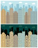 Street view with cityscape, skyscrapers and modern buildings in the day and nigh. T. Vector urban landscape illustration Royalty Free Stock Photography